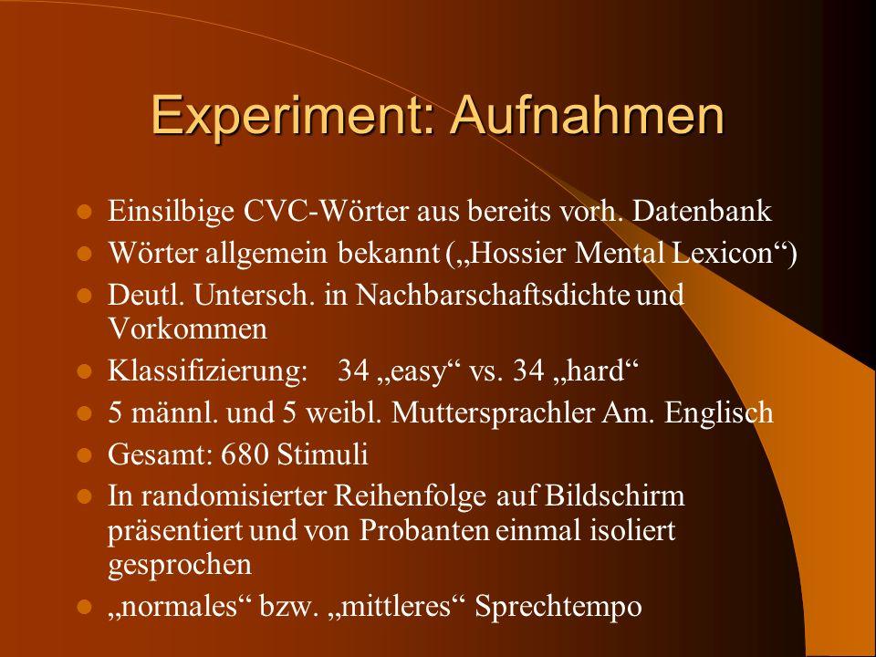Experiment: Aufnahmen