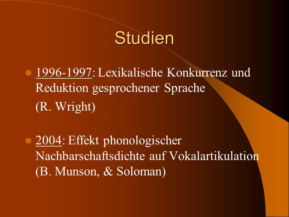 Studien 1996-1997: Lexikalische Konkurrenz und Reduktion gesprochener Sprache. (R. Wright)