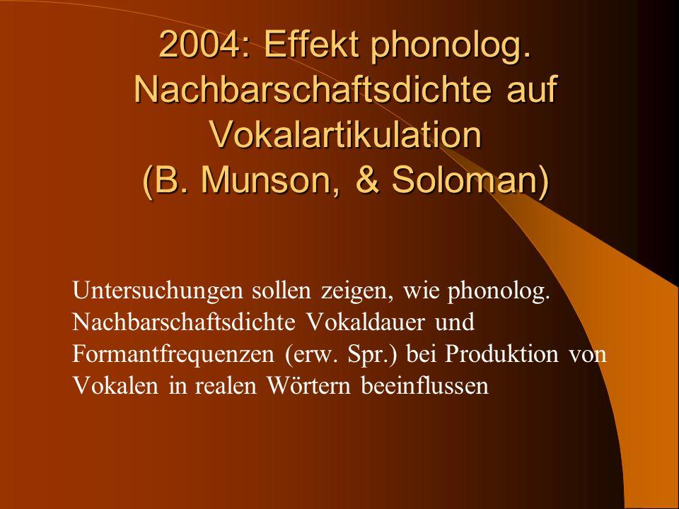 2004: Effekt phonolog. Nachbarschaftsdichte auf Vokalartikulation (B