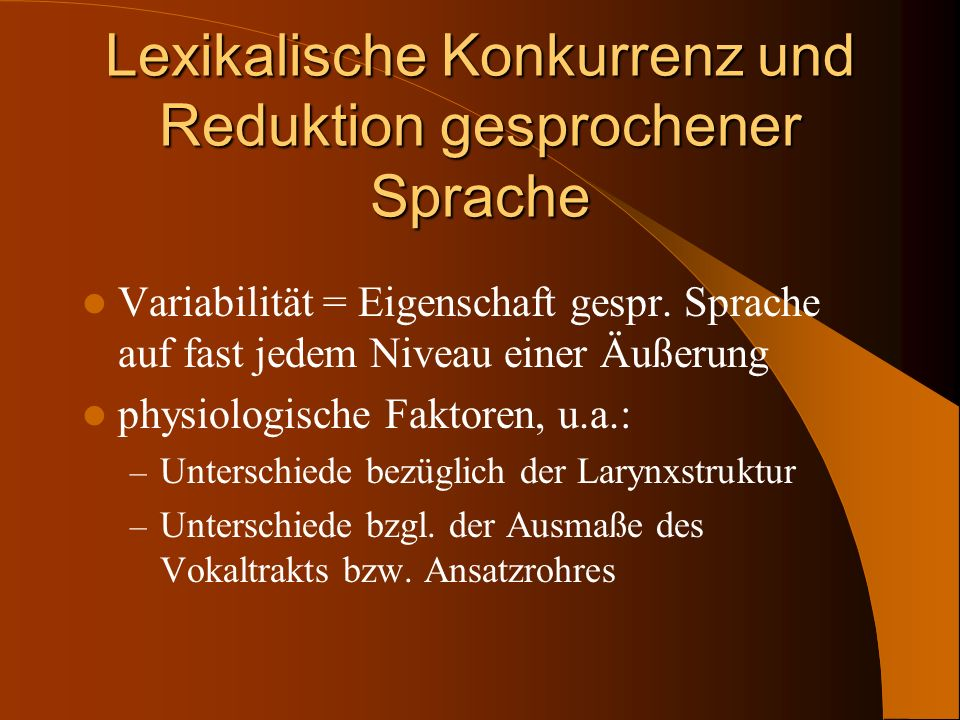 Lexikalische Konkurrenz und Reduktion gesprochener Sprache