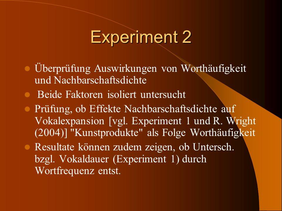 Experiment 2 Überprüfung Auswirkungen von Worthäufigkeit und Nachbarschaftsdichte. Beide Faktoren isoliert untersucht.