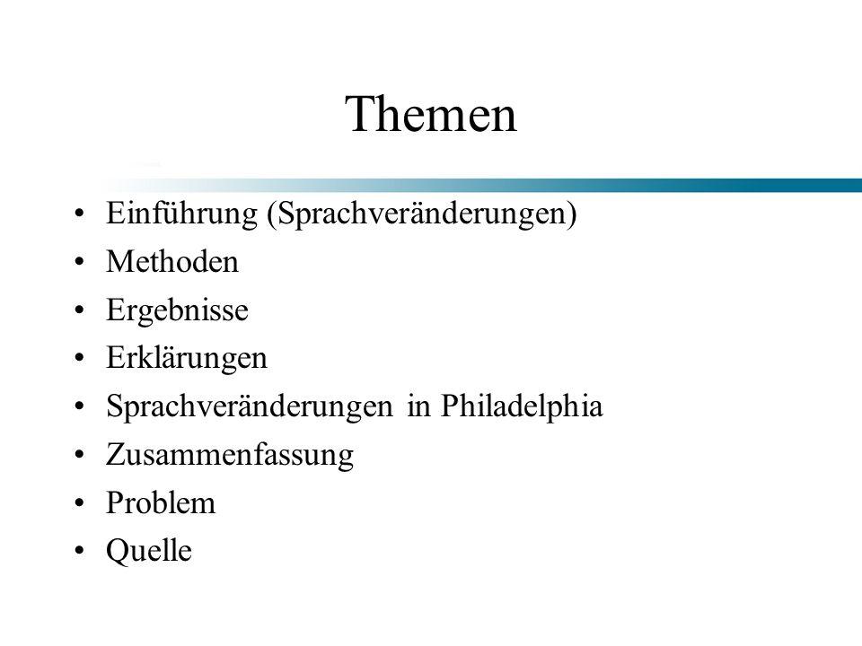 Themen Einführung (Sprachveränderungen) Methoden Ergebnisse