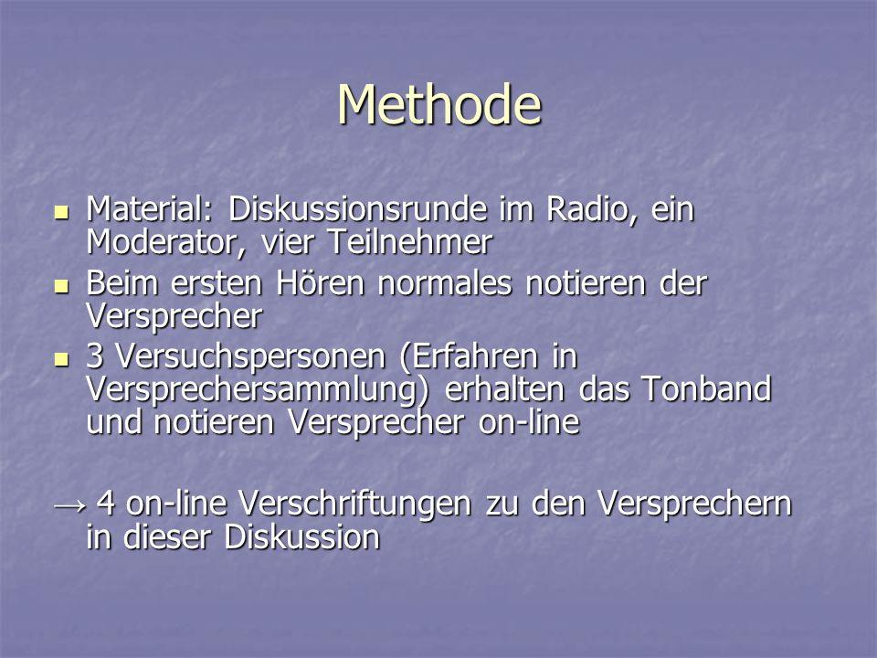 Methode Material: Diskussionsrunde im Radio, ein Moderator, vier Teilnehmer. Beim ersten Hören normales notieren der Versprecher.