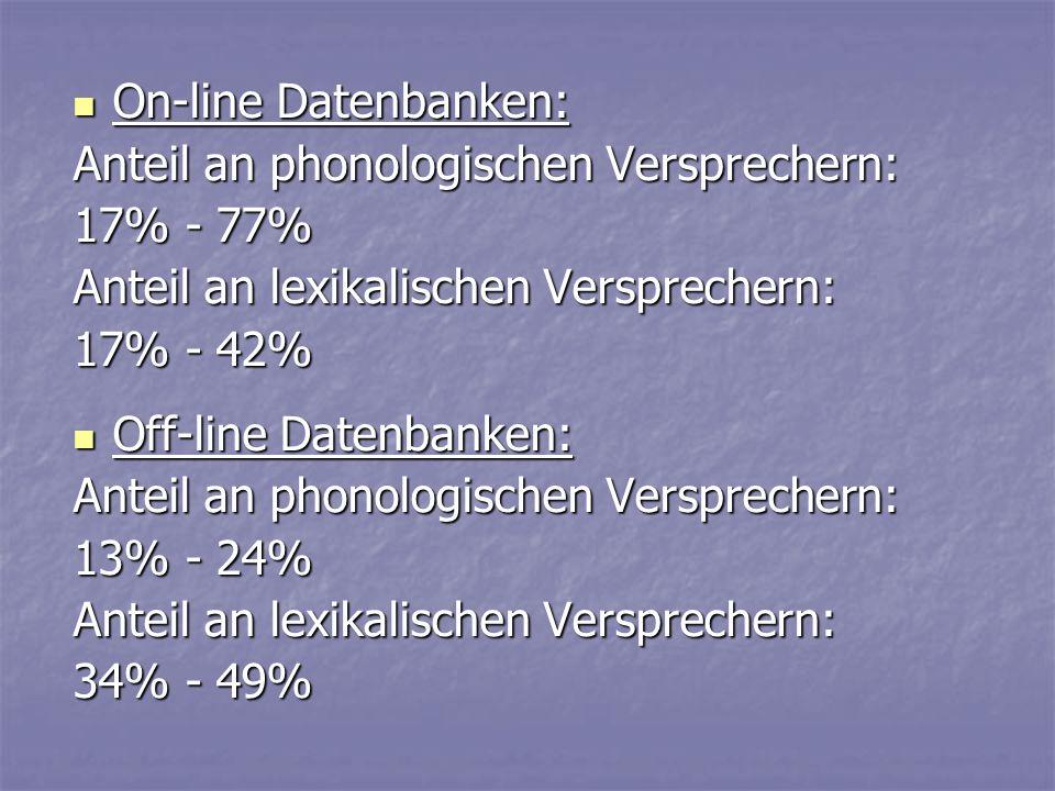On-line Datenbanken: Anteil an phonologischen Versprechern: 17% - 77% Anteil an lexikalischen Versprechern: