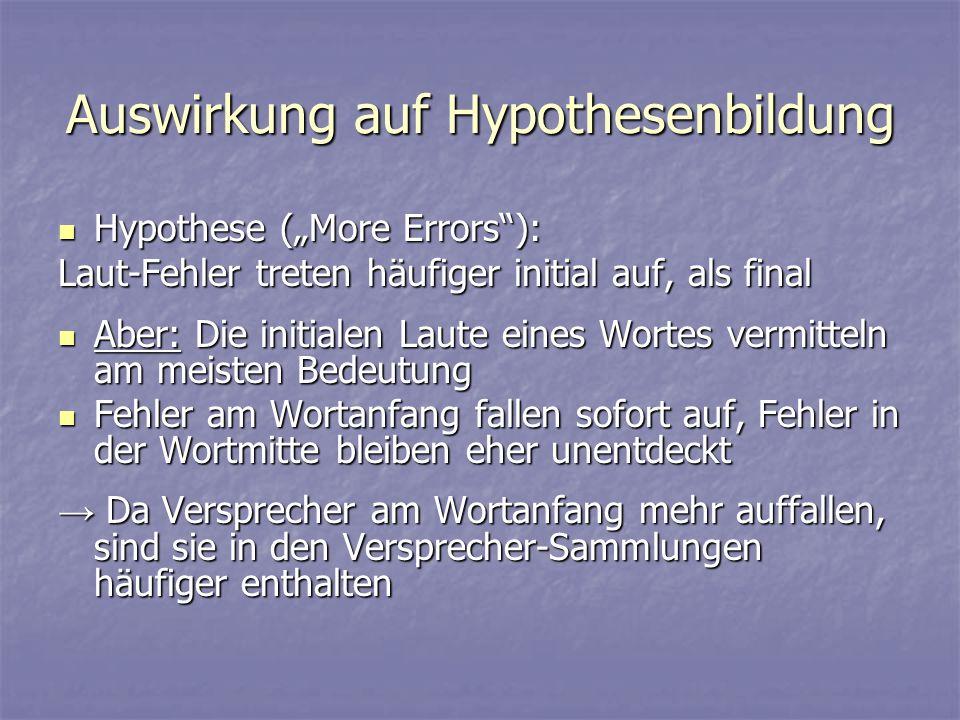 Auswirkung auf Hypothesenbildung