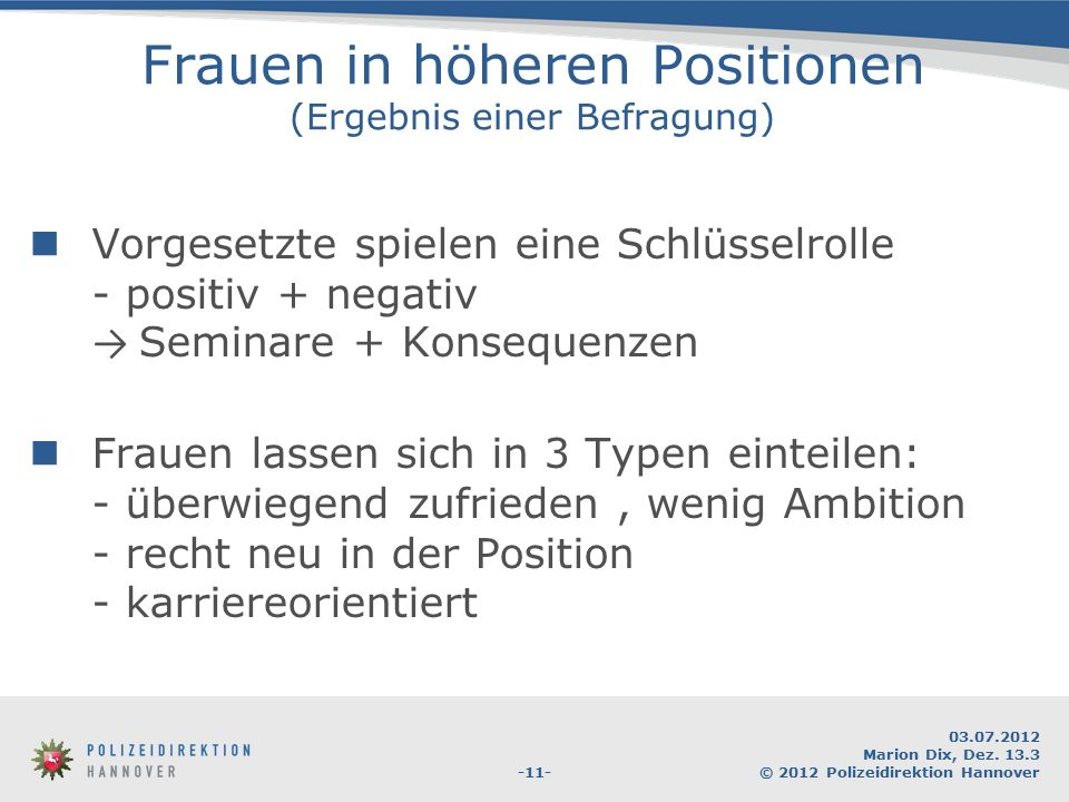 Frauen in höheren Positionen (Ergebnis einer Befragung)