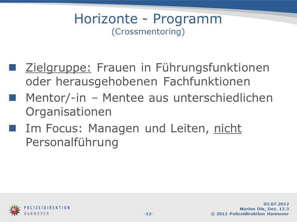 Horizonte - Programm (Crossmentoring)