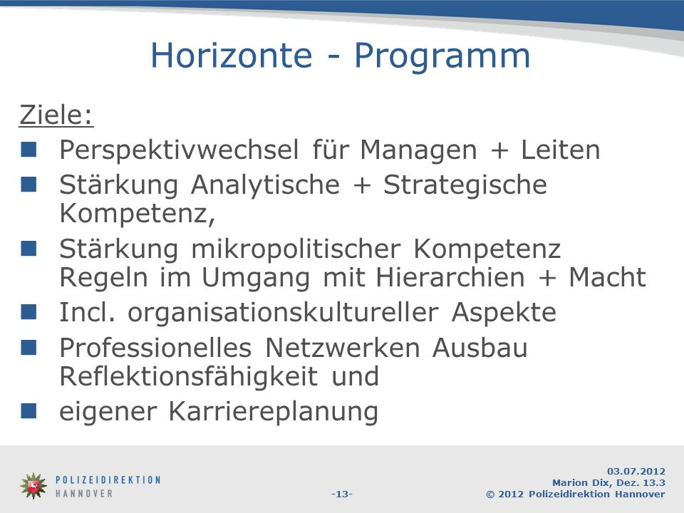 Horizonte - Programm Ziele: Perspektivwechsel für Managen + Leiten