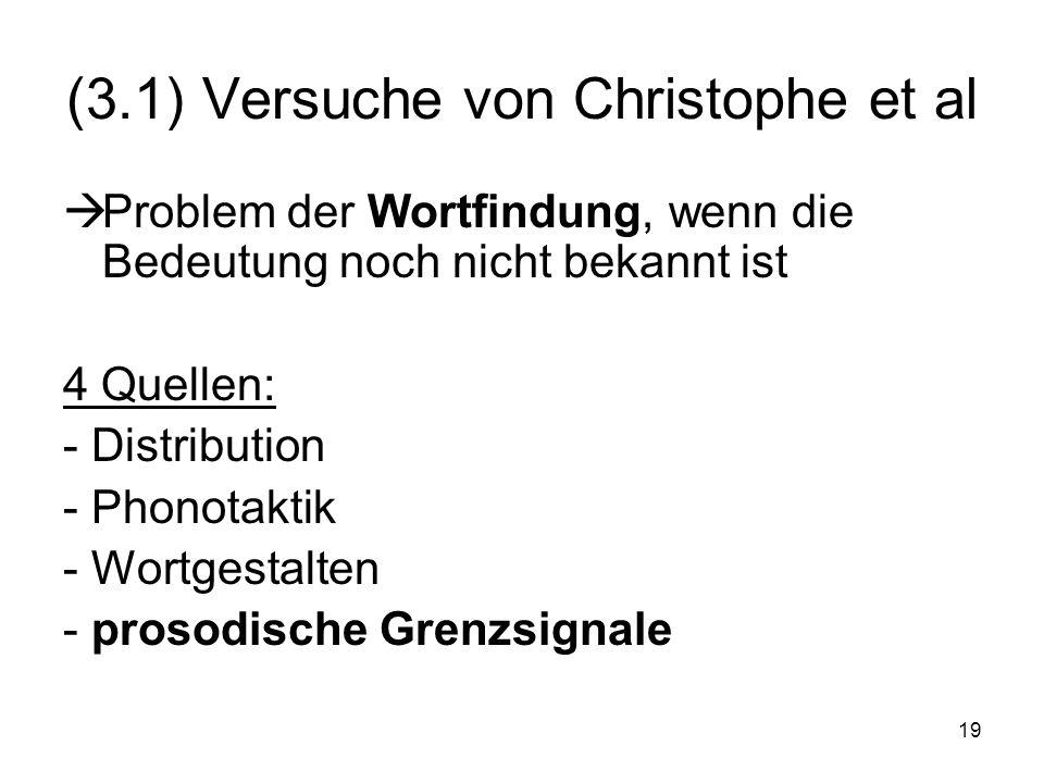 (3.1) Versuche von Christophe et al