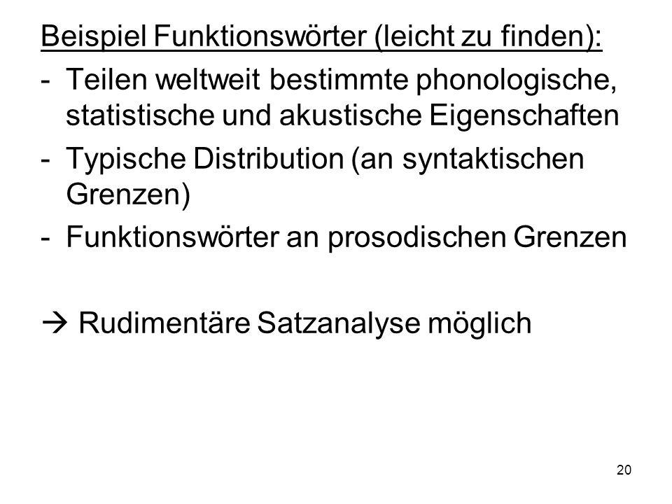 Beispiel Funktionswörter (leicht zu finden):