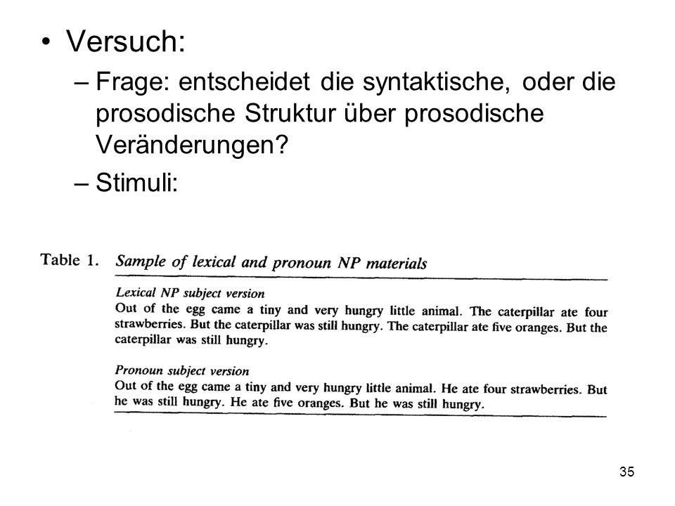Versuch: Frage: entscheidet die syntaktische, oder die prosodische Struktur über prosodische Veränderungen