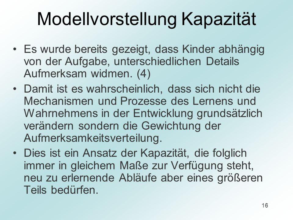 Modellvorstellung Kapazität
