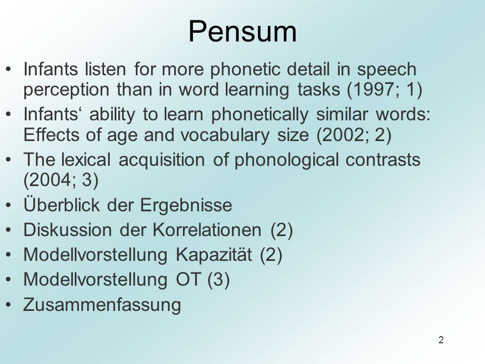 Pensum Infants listen for more phonetic detail in speech perception than in word learning tasks (1997; 1)