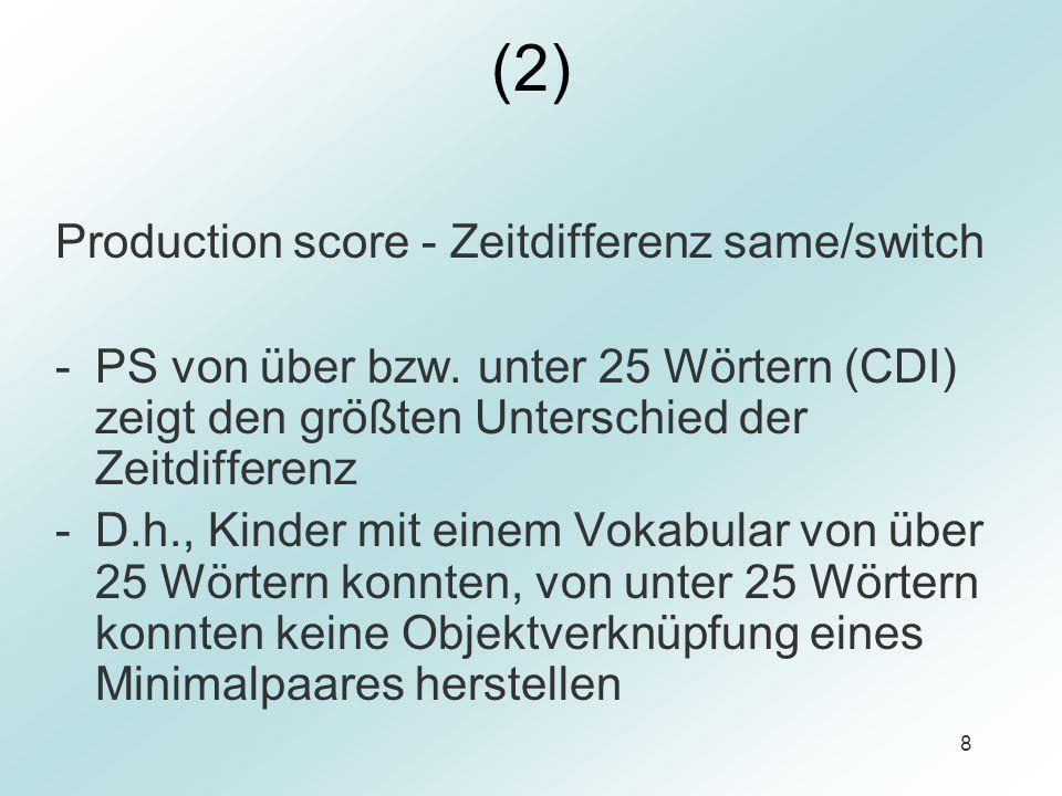 (2) Production score - Zeitdifferenz same/switch