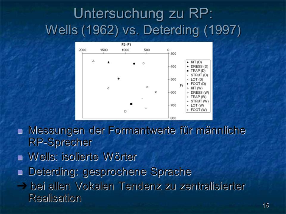 Untersuchung zu RP: Wells (1962) vs. Deterding (1997)