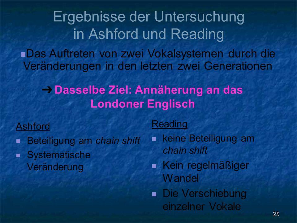 Ergebnisse der Untersuchung in Ashford und Reading