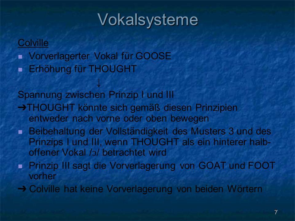 Vokalsysteme Colville Vorverlagerter Vokal für GOOSE