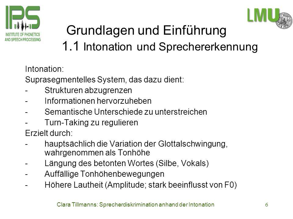 Grundlagen und Einführung 1.1 Intonation und Sprechererkennung