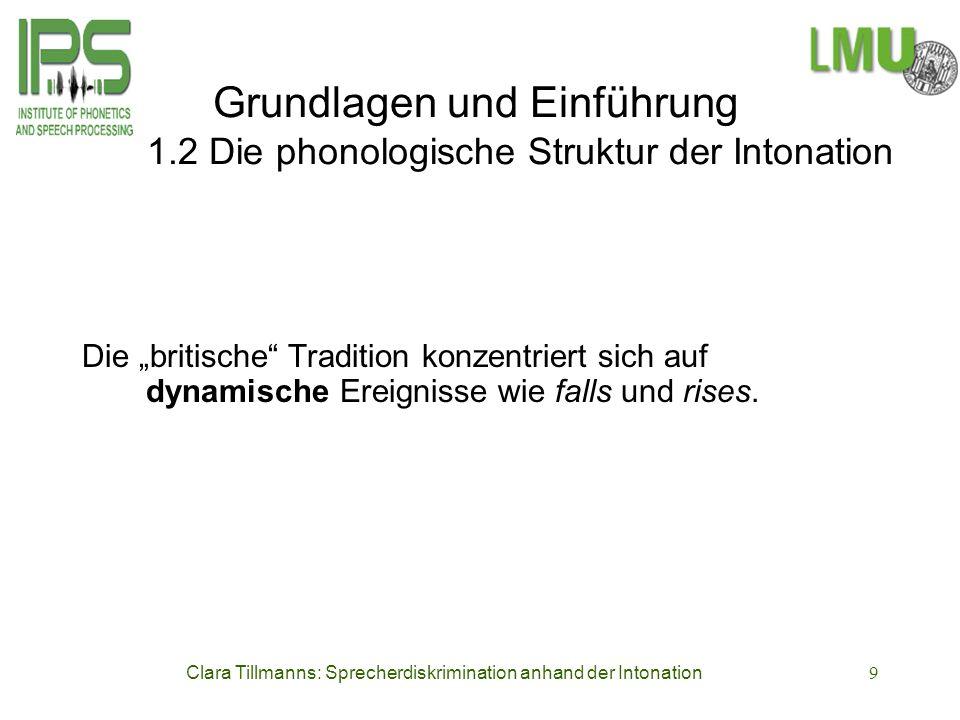 Clara Tillmanns: Sprecherdiskrimination anhand der Intonation