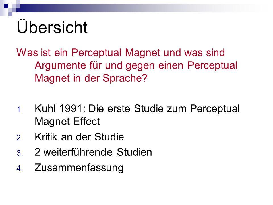 Übersicht Was ist ein Perceptual Magnet und was sind Argumente für und gegen einen Perceptual Magnet in der Sprache
