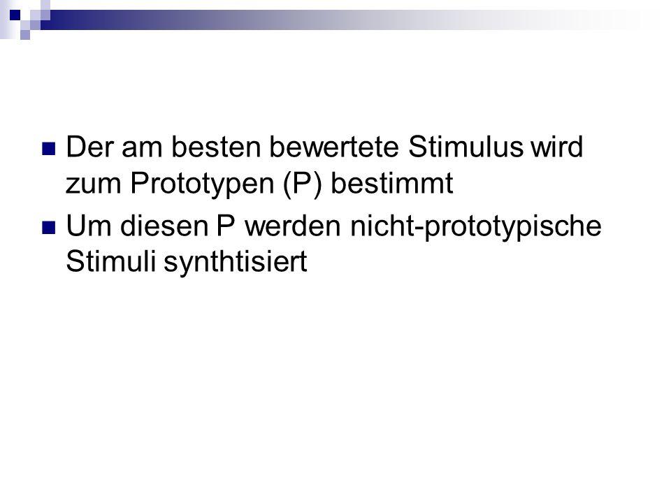 Der am besten bewertete Stimulus wird zum Prototypen (P) bestimmt