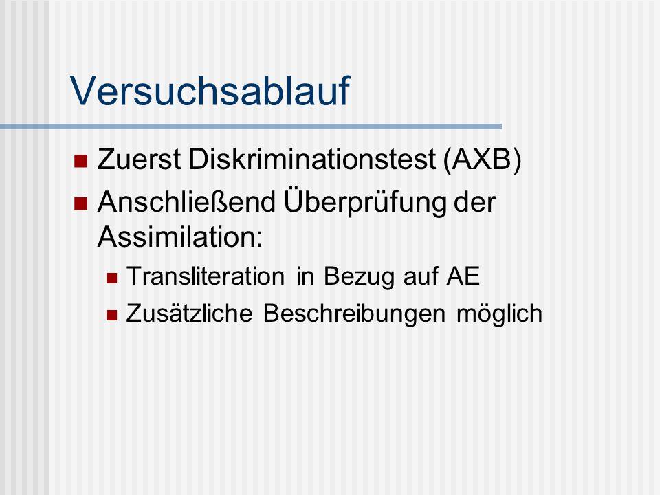 Versuchsablauf Zuerst Diskriminationstest (AXB)