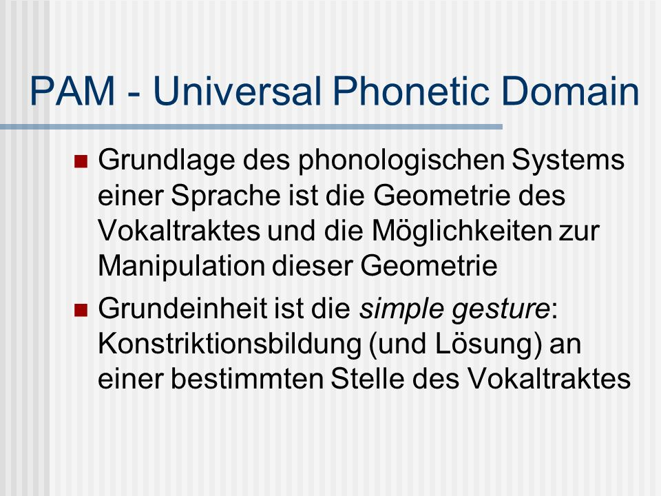 PAM - Universal Phonetic Domain