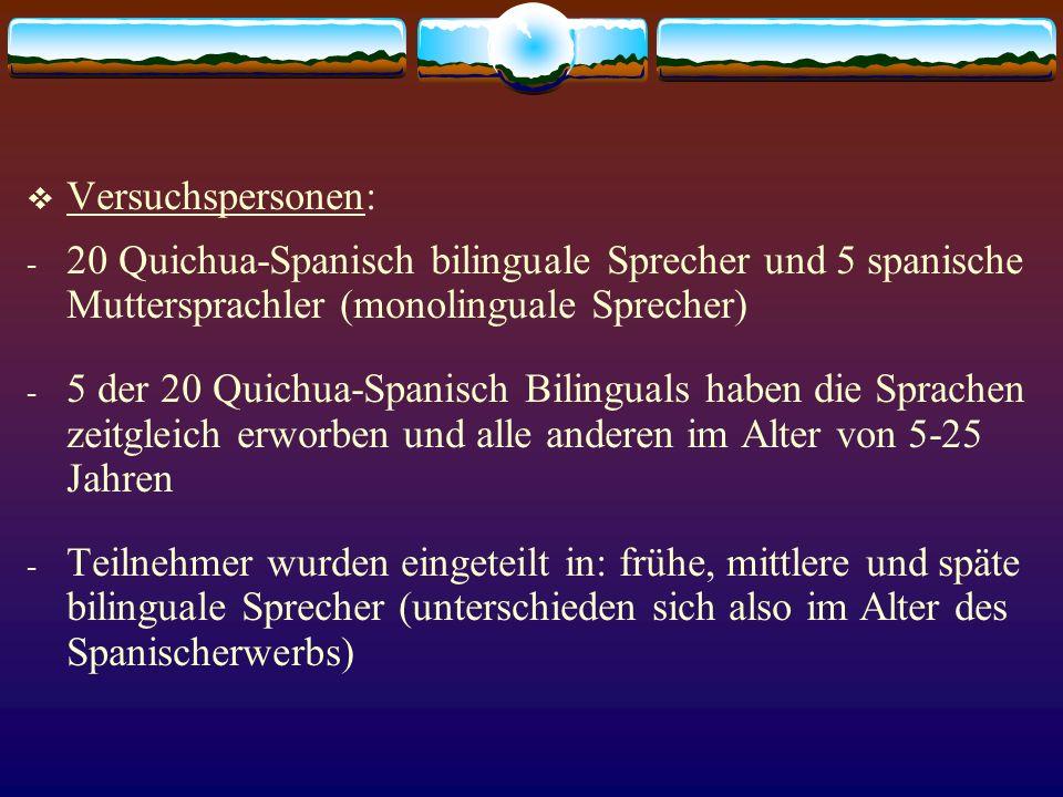 Versuchspersonen: 20 Quichua-Spanisch bilinguale Sprecher und 5 spanische Muttersprachler (monolinguale Sprecher)