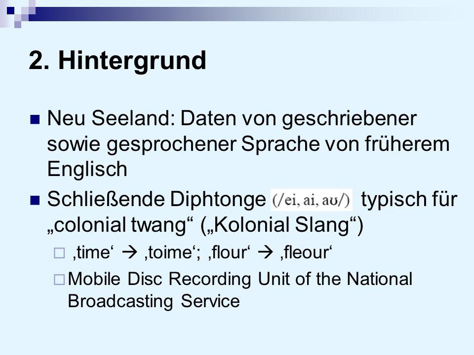 2. Hintergrund Neu Seeland: Daten von geschriebener sowie gesprochener Sprache von früherem Englisch.
