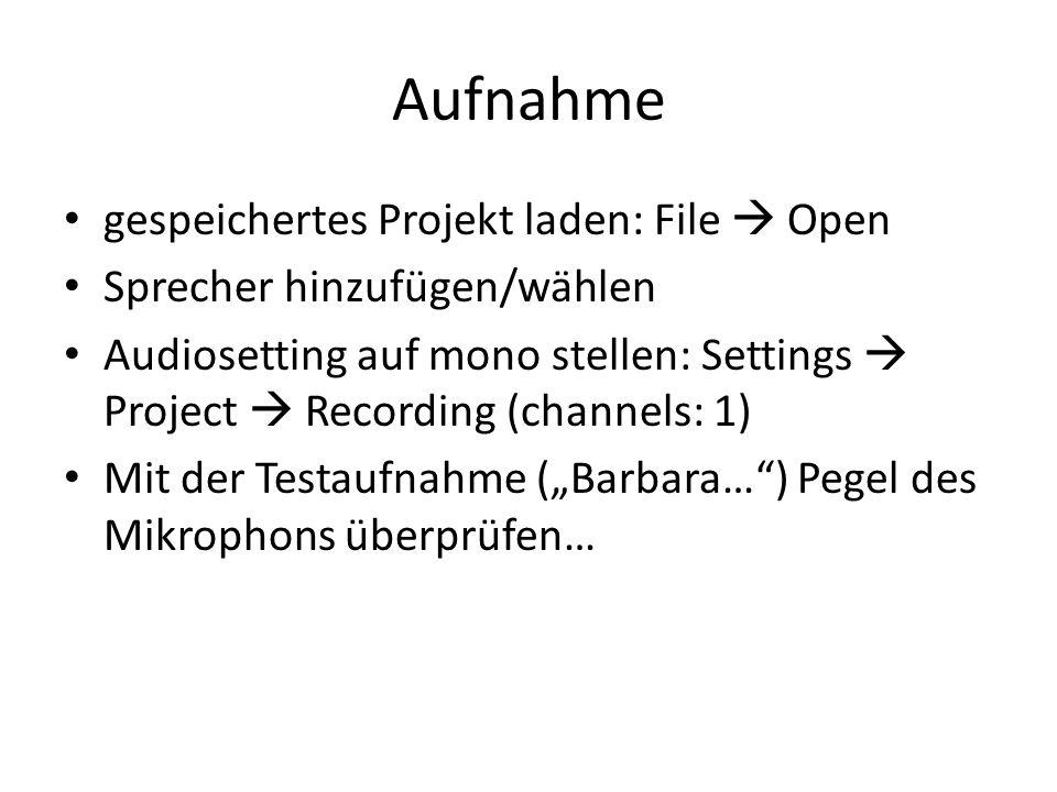 Aufnahme gespeichertes Projekt laden: File  Open