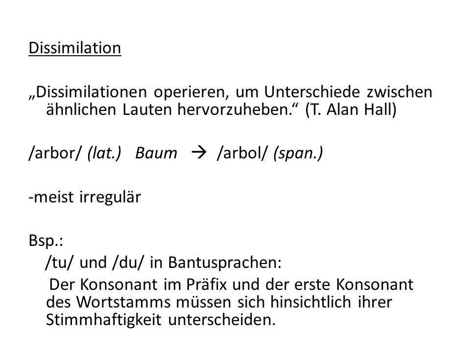 """Dissimilation """"Dissimilationen operieren, um Unterschiede zwischen ähnlichen Lauten hervorzuheben. (T. Alan Hall)"""