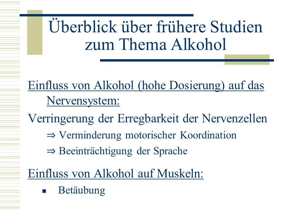 Überblick über frühere Studien zum Thema Alkohol