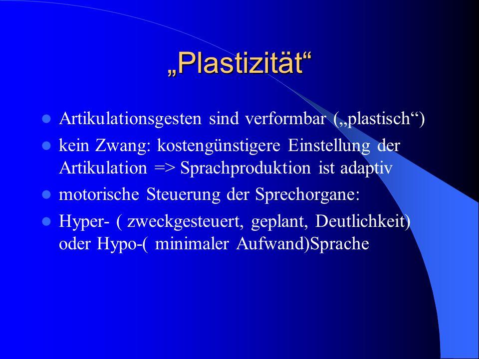"""Plastizität Artikulationsgesten sind verformbar (""plastisch )"