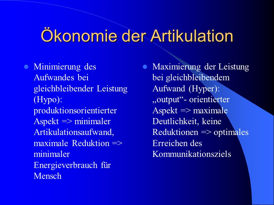 Ökonomie der Artikulation
