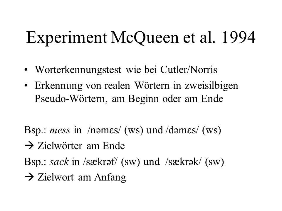 Experiment McQueen et al. 1994
