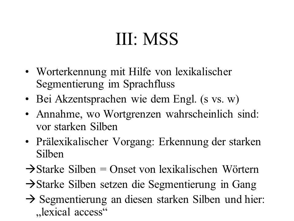 III: MSS Worterkennung mit Hilfe von lexikalischer Segmentierung im Sprachfluss. Bei Akzentsprachen wie dem Engl. (s vs. w)