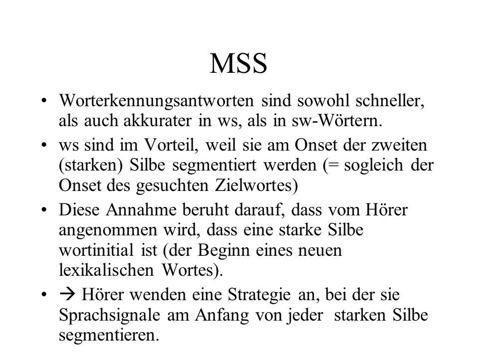 MSS Worterkennungsantworten sind sowohl schneller, als auch akkurater in ws, als in sw-Wörtern.