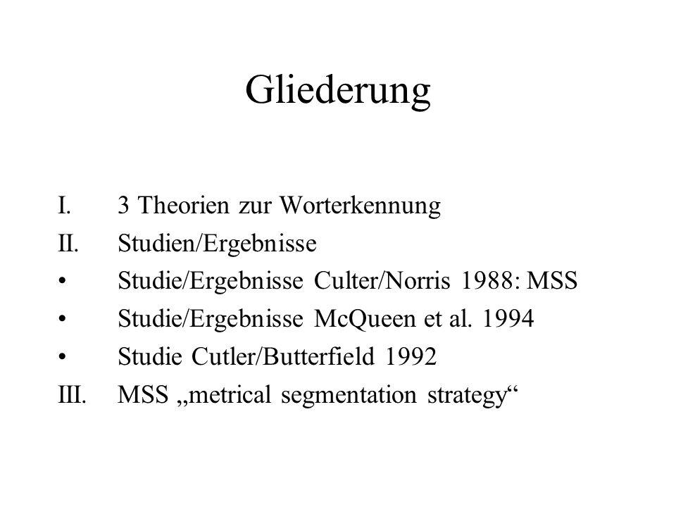 Gliederung I. 3 Theorien zur Worterkennung II. Studien/Ergebnisse