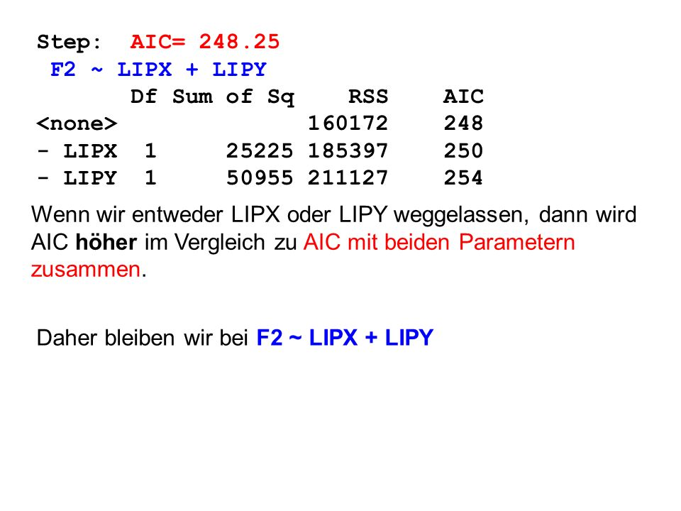Step: AIC= F2 ~ LIPX + LIPY. Df Sum of Sq RSS AIC. <none>