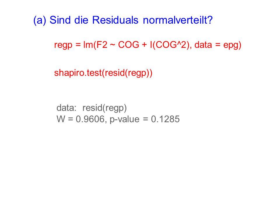 (a) Sind die Residuals normalverteilt