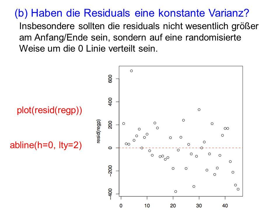 (b) Haben die Residuals eine konstante Varianz