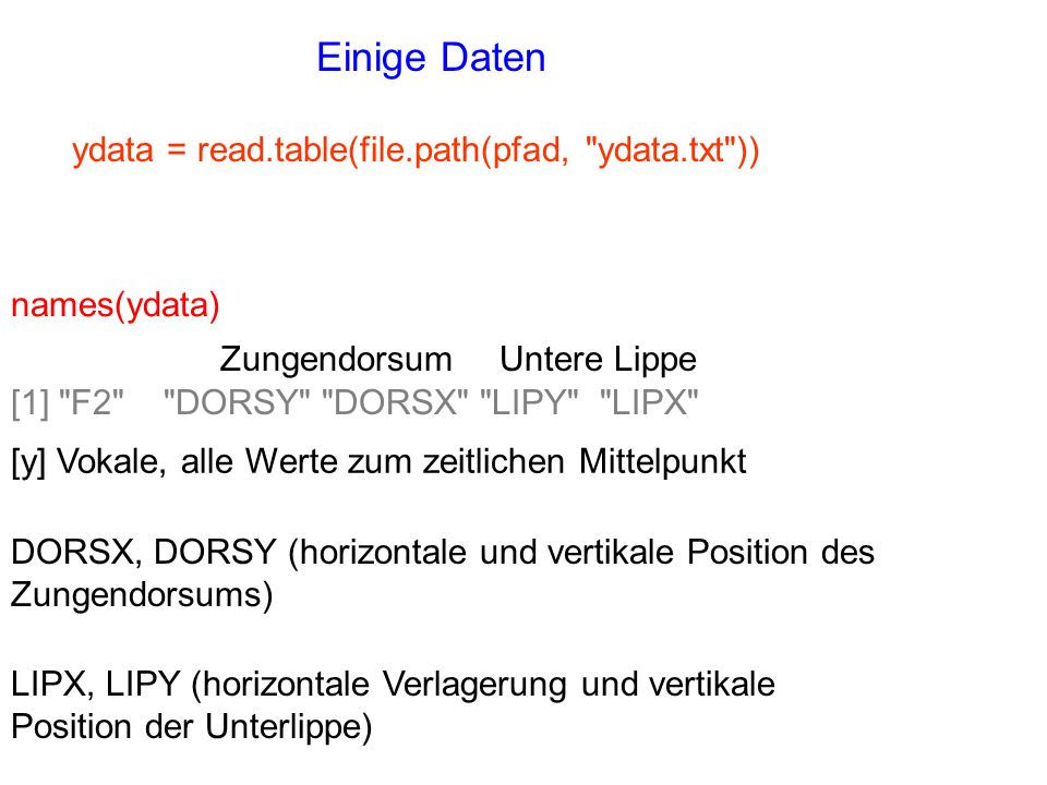 Einige Daten ydata = read.table(file.path(pfad, ydata.txt ))