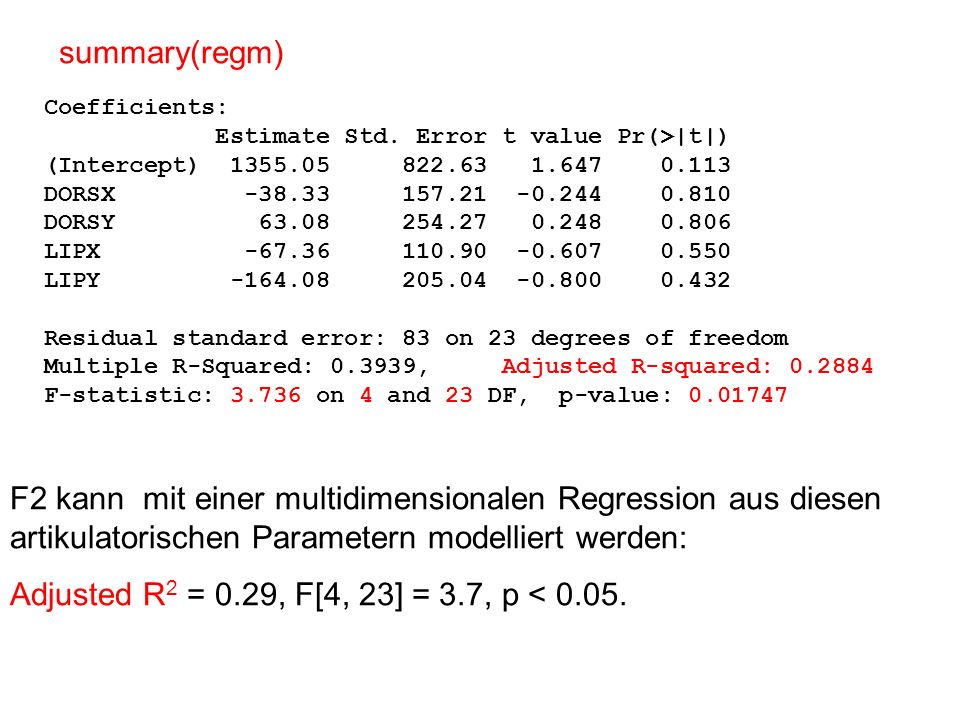 summary(regm) Coefficients: Estimate Std. Error t value Pr(>|t|) (Intercept) 1355.05 822.63 1.647 0.113.
