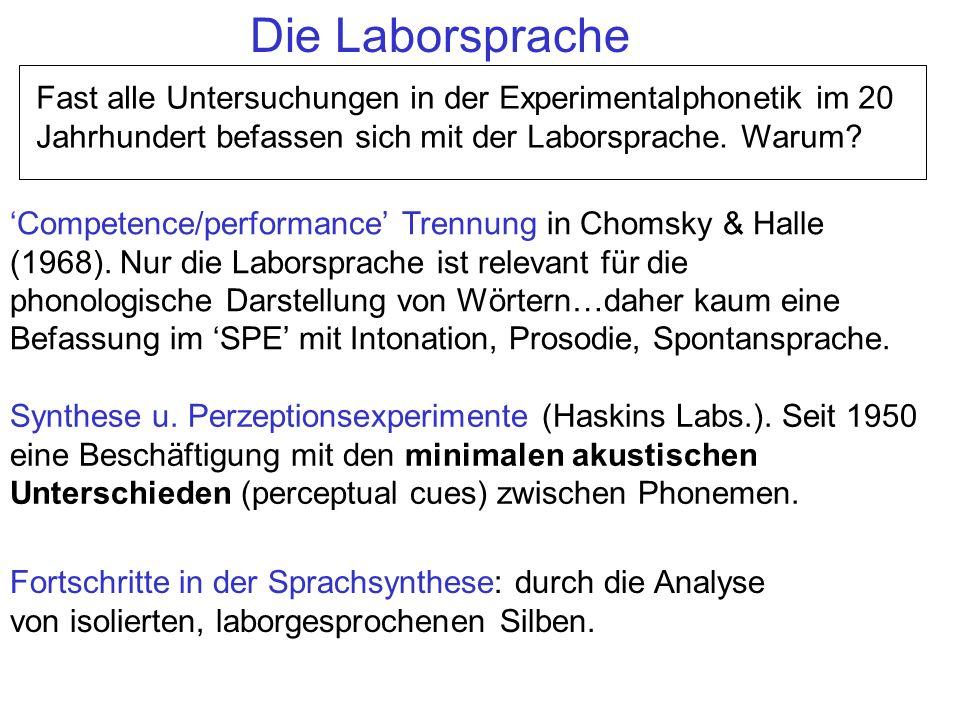 Die Laborsprache Fast alle Untersuchungen in der Experimentalphonetik im 20 Jahrhundert befassen sich mit der Laborsprache. Warum