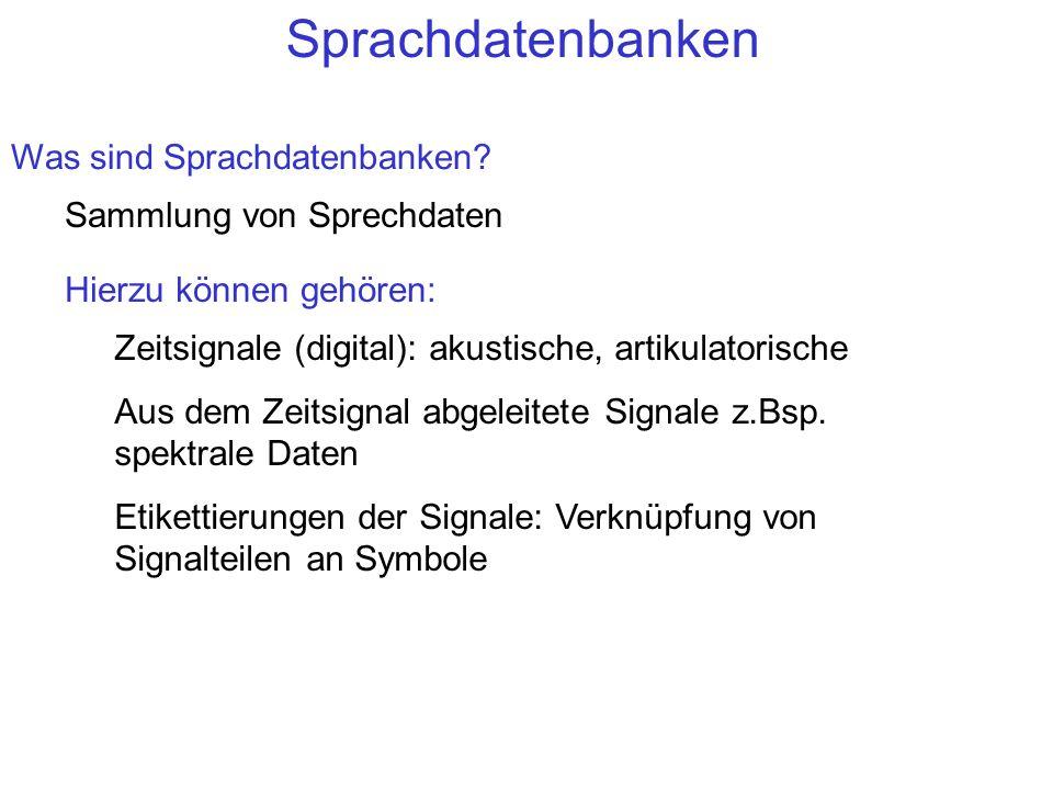 Sprachdatenbanken Was sind Sprachdatenbanken Sammlung von Sprechdaten