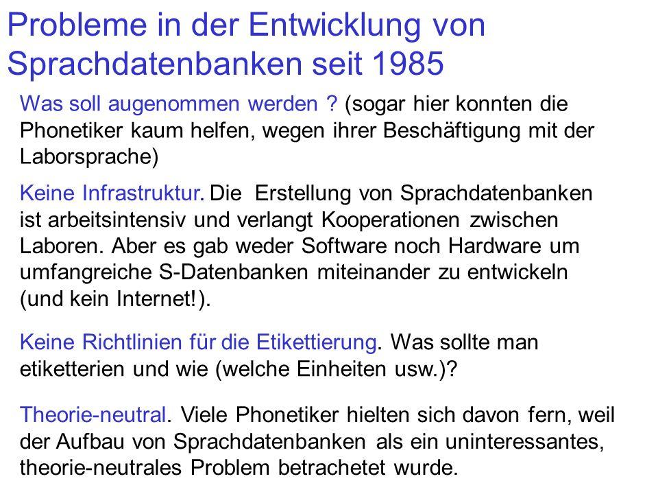 Probleme in der Entwicklung von Sprachdatenbanken seit 1985