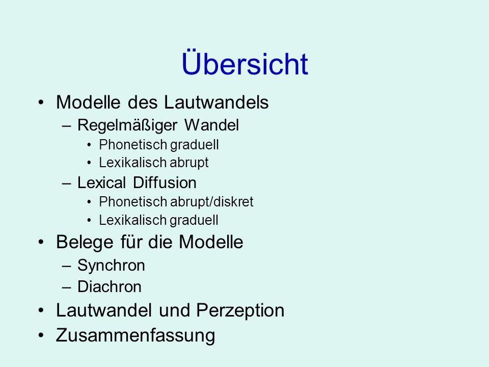 Übersicht Modelle des Lautwandels Belege für die Modelle