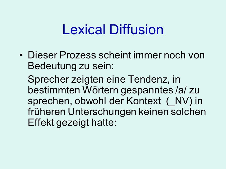 Lexical DiffusionDieser Prozess scheint immer noch von Bedeutung zu sein: