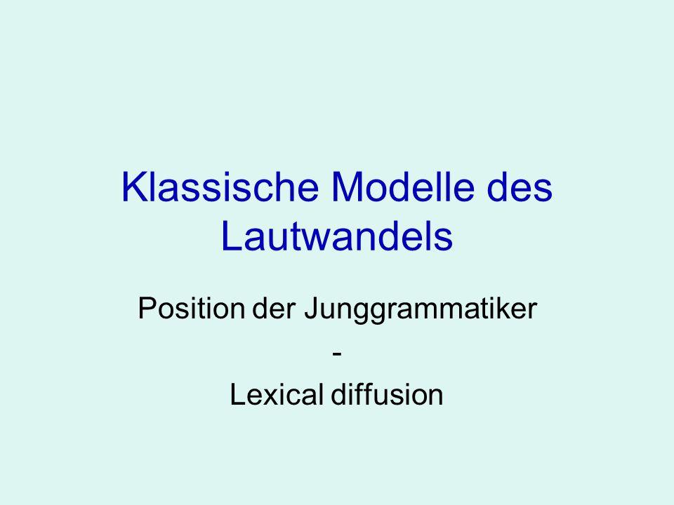 Klassische Modelle des Lautwandels