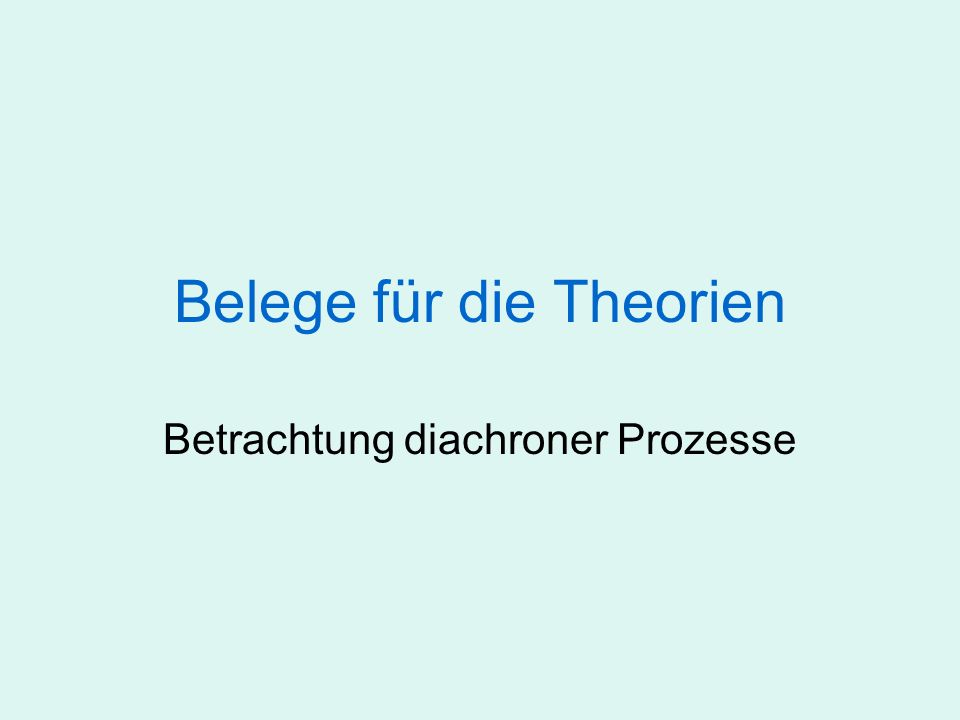 Belege für die Theorien